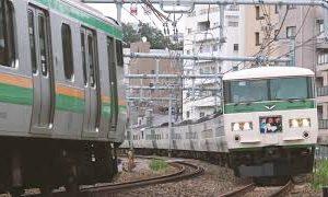 Previous<span>東海道踏切を通過する185系「踊り子」号 -JR East express Odoriko passes train crossing-</span><i>→</i>